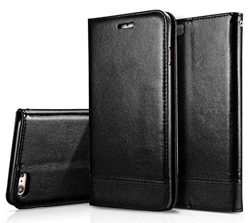 Dfly, custodia per smartphone, custodia a libro in ecopelle (PU) con doppio lato magnetico nero Black iPhone SE / 5S / 5