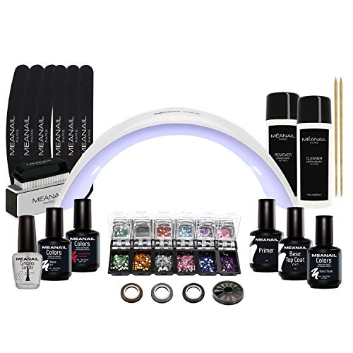 Nagelstudio Set komplett • Meanail® Paris Design Deluxe XXL • Maniküre + Pediküre • inkl. Naildesign Zubehör (30-teilig) • 1 UV LED Lampe für Nägel • UV GEL • Nailart • Vegan&Cruelty free
