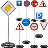 alles-meine.de GmbH 10 Stück: - XXL - 90 cm ! - große Verkehrszeichen / Verkehrsschilder - wasserfest - für draußen - Kunststoff - Plastik - Straßenschilder - Schilder für Rutsch..