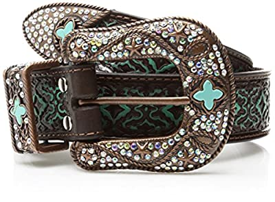 Nocona Belt Co. Women's Aged Geo Turquoise Bling Buckle Set Belt, brown, Large