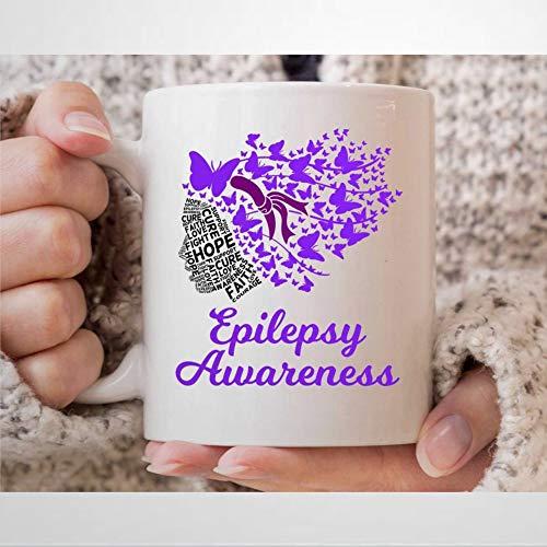 Kaffeetasse mit E-pilepsy-Bewusstseins-Tasse für E-pilepsie, Kämpfer und Krieger, Epileptische Unterstützung, Geschenke für E-pilepsie-Patienten, Teetasse, 325 ml