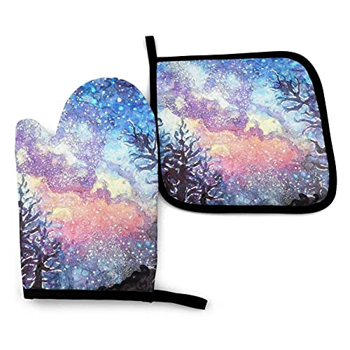 Galaxy Spring Heat Resistant Oven Gloves And Pot Holders,Waterproof Kitchen Mitts Non Slip Pot Holders Cooking,Bbq,Easy To Clean And Store