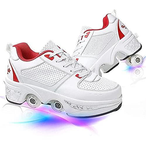 GGOODD Patines para Mujeres y Hombres Zapatos Skate Invisible Automática De Skate Zapatillas para Principiantes Zapato de Rodillo de Patada 4 Ruedas Patines de Ruedas para Niños y Niñas
