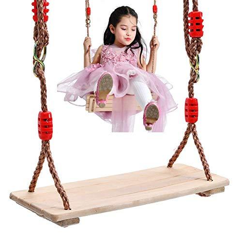 YLJYJ Columpio de árbol de Madera Columpio de Madera Asiento para niños Columpio de jardín para niños con Cuerdas Ajustables Incluidas Ideal para Columpios