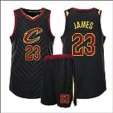 Jersey Baloncesto 23# Lebron James Baloncesto Jersey, Cavaliers Bordado sin Mangas Divierte la Camiseta XS-XXL (Color : Black, Size : L)
