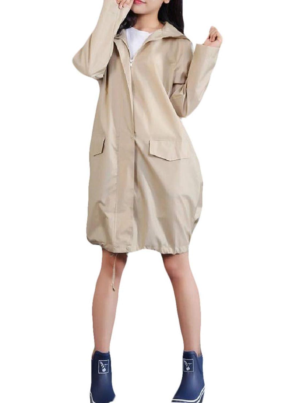 cheelot レディース軽量レインポンチョファッションフードウインドレインコート
