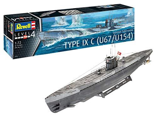 Revell RV05166 05166 U-Boot German Submarine Type IX C U67/U154, Schiffsmodellbausatz 1,72, 1,06 m originalgetreuer Modellbausatz für Fortgeschrittene, unlackiert, 1/72