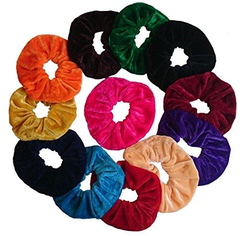 Aadya's SET of 12 Velvet Hair Scrunchies Elastic Scrunchy Hair Bobbles In 3 Different Size (Small, Large, Jumbo) (Jumbo(16CM)) by Aadya