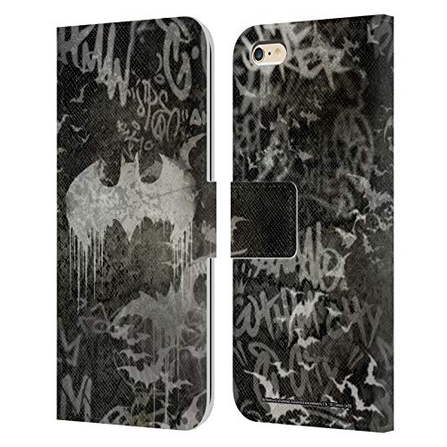 Head Case Designs Oficial Batman DC Comics Logotipo de Graffiti Moda Vintage Carcasa de Cuero Tipo Libro Compatible con Apple iPhone 6 Plus/iPhone 6s Plus