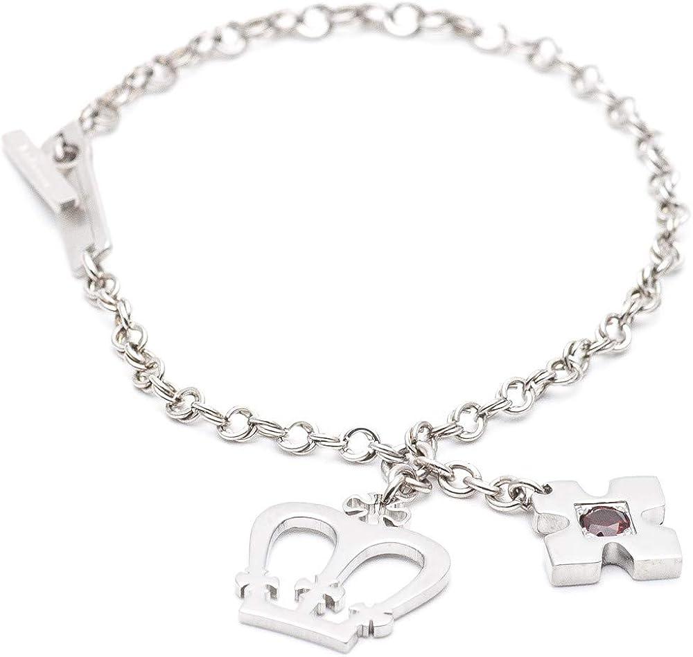 Rebecca bracciale unisex in acciaio con charms corona stella e pietra XLBBSG14