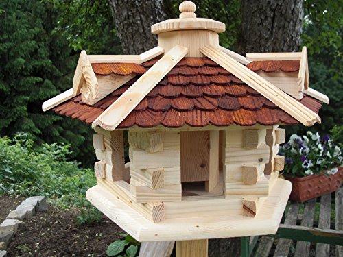 Vogelhaus Vogelhäuser(V29) Vogelfutterhaus Vogelhäuschen-aus Holz-DHL-Schreinerarbeit-Gaube Braun Groß