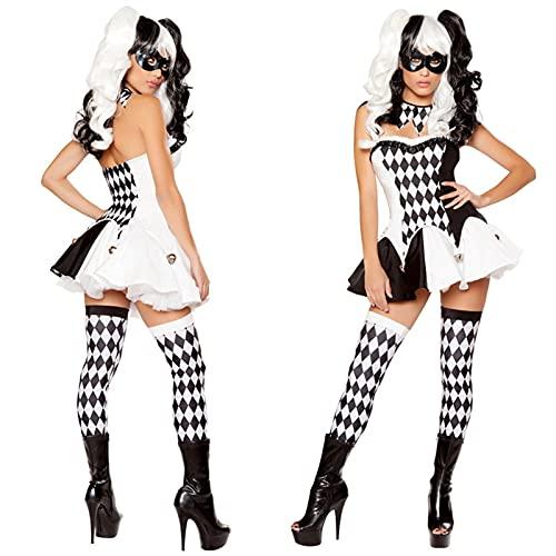 Adulto Mujer Sexy Harley Disfraz Halloween Película Quinn Naughty Joker Payown Harleyquin Cosplay Fantasía Vestido (Color : Noir, Size : XL)