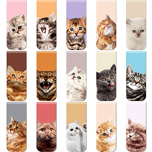 30 Pieces Magnetic Bookmarks Cute Cats Magnetic Page Markers Pets Magnetic Page Clips Bookmark for Students Teachers School Home Office Reading Stationery, 15 Designs