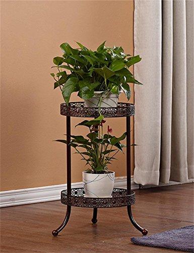 Edge to bloempot voor planten, 2 lagen, smeedijzer, plank van aardewerk, vloer, balkon, binnen, buiten, pot Brons
