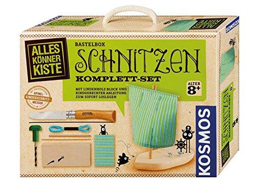 Kosmos Bastelbox SCHNITZEN, Opinel-Kinderschnitzmesser No. 7 mit persönlicher Gravur