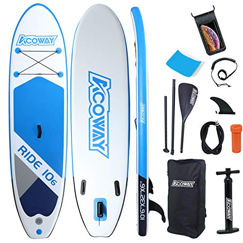 ACOWAY Inflatable Stand Up Paddle Board, 10'6' ×32/33' × 6' Sup for All Skill Levels Inflatable Paddle Boards, Non-Slip Deck, Double Action Pump, Waterproof Bag for Youth & Adult & Kids