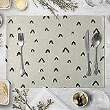 AmDxD Juego de 2 manteles individuales de lino y algodón, de 30,4 x 40,6 cm Brevity es hermoso, manteles individuales de tela lavables para decoración de mesa de comedor, cocina, color negro y gris