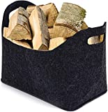 Cesta de fieltro para leña, bolsa de fieltro grande esta para leña de chimencesta de la compra, cesta de fieltro, grande gris oscuro, 40 x 26 x 30 cm, bolsa de fieltro para madera, periódicos