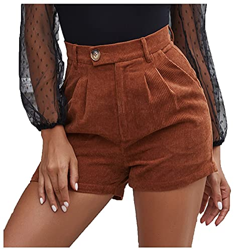 BIBOKAOKE Pantalones cortos para mujer, de pana con cintura alta, bermudas, para verano, para el tiempo libre, elegantes, para mujeres, pantalones anchos, pantalones de verano