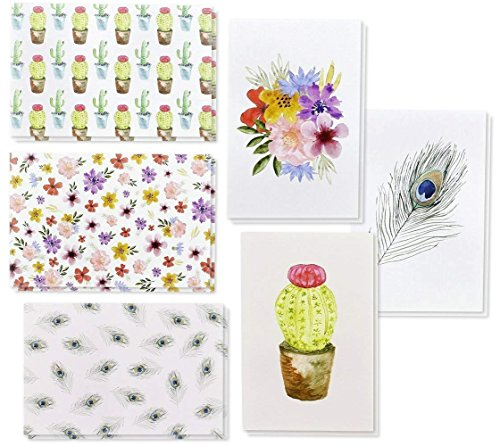 48-Pack Greeting Cards Blank Note with Envelopes, Watercolor Cactus & Floral Designs for All Occasions, Birthdays, Wedding Bulk Box Set, 4 x 6 inches