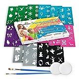 Tritart Set 116 piezas Variado conjunto de plantillas de maquillaje para niños y adultos I 112 plantillas autoadhesivas tatuaje para niños y adultos, 2 esponjas y 2 Pinceles.