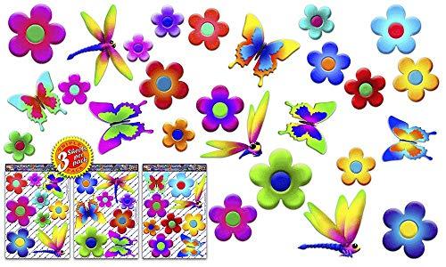 JAS Stickers-Gänseblümchen Blumen Auto Aufkleber - Schmetterling Libelle Tier X Große Vinyl Stoßstange Pack für Laptop Gepäck Fahrrad Caravans Van Wohnmobile LKW Boote - ST056-4-DE