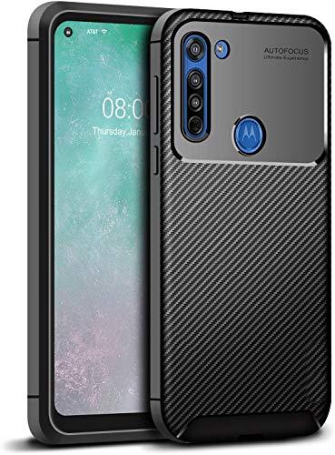 Capa Capinha Anti Impacto Para Motorola Moto G8 Power com Tela de 6.4Polegadas Case Com Desenho Fibra De Carbono Shock Queda - Danet (Preto)
