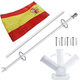Display4top 6ft Aluminio Kit de asta de la Bandera con Soporte de Pared Ajustable de 180 Grados + 1PC Bandera (Spain Flag)