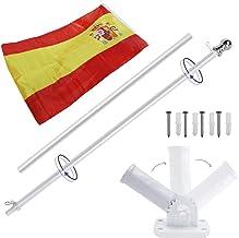 Display4top 6ft Aluminio Kit de asta de la Bandera con Soporte de Pared Ajustable de 180 Grados + 1PC Bandera (Spain Flag)