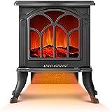 ADLOASHLOU Chimenea Eléctrica Classic Flame, Calefactor Cerámico Termoventilador Llama Decorativa, Chimenea portátil, Termostato, 2 Niveles, Sensor Seguridad Sobrecalentamiento, 750/1500W,