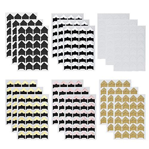 288 Piezas Photo Corners Autoadhesivas, Pegatina de esquinas fotográficas para álbumes de recortes, álbum de fotos, diario, 12 hojas de 6 colores
