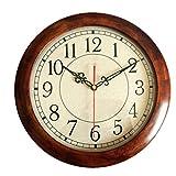 ZHUAN Orologio da Parete Classico Rotondo in Legno, Orologio da Parete Moderno Semplice e Silenzioso Senza ticchettio, Orologio da Parete Silenzioso per Soggiorno Ufficio Scuola-a 12 Pollici