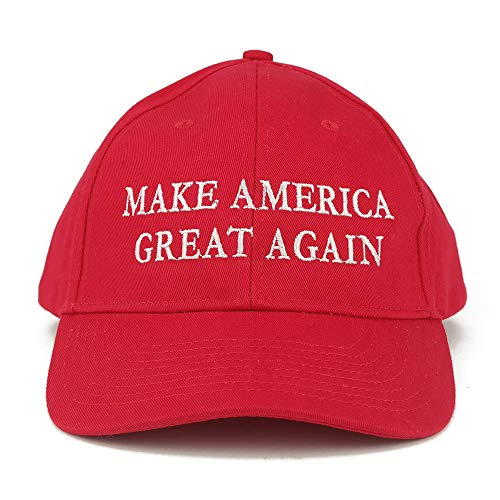 Made in USA Donald Trump Structured Cotton Cap - Make America Great Again Embroidered - Red