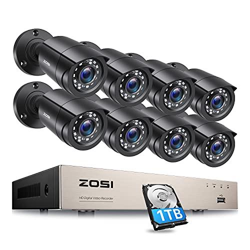 ZOSI 8CH 1080P Full HD DVR sistema de vigilancia con disco duro de 1 TB y 8 cámaras de vigilancia CCTV de 2 MP, H.265+