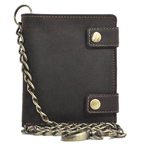 Leder Portemonnaie mit 50cm Kette Biker Geldbörse mit RFID Schutz naturbelassenes Hunterleder Toro