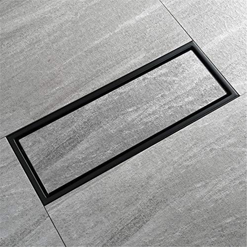 Bodenablauf Schwarz Lackiertes Messingbad Linearer Bodenablauf 2-Wege-Einbau Flieseneinsatz Rechteckiger Duschbodenablauf Verstopfungsfrei für Badezimmer Duschraum Toilette