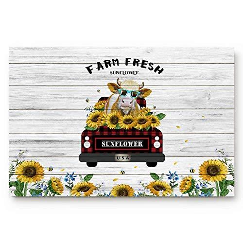 EQKWJ Doormats Entrace Door Rug, Retro Farm Buffalo Check Plaid Truck With Cow Sunflower,Indoor/Bathroom/Kitchen/Bedroom/Entryway Floor Mat Decorative, Non-Slip Low Profile,23.6x15.7 Inch 16x24(IN)