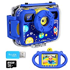 Ourlife Kids Camera, Selfie Kids Waterproof Digital Cameras for Kids 1080P 8MP 2.4 Inch Large Screen with 8GB SD Card, Silicone Handle and Fill Light,2019 Upgraded(Navy-Blue)