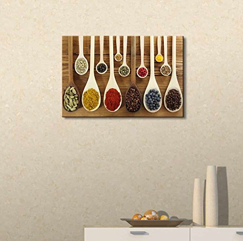 Colorful Indian Spices in Wooden Spoons