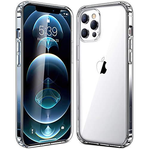 Transparente Funda Compatible con iPhone 12 Pro Max, Carcasa Protectora Antigolpes con PC Rígido + Marco TPU Flexible con Cojín de Esquina Parachoques Cover Compatible con iPhone 12 Pro Max(6.7'')