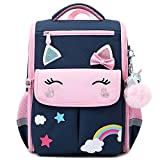 Unicorn Girls Backpacks for School Princess Bowknot Kids Bookbags Boys Dinosaur Backpack(Large, Blue)