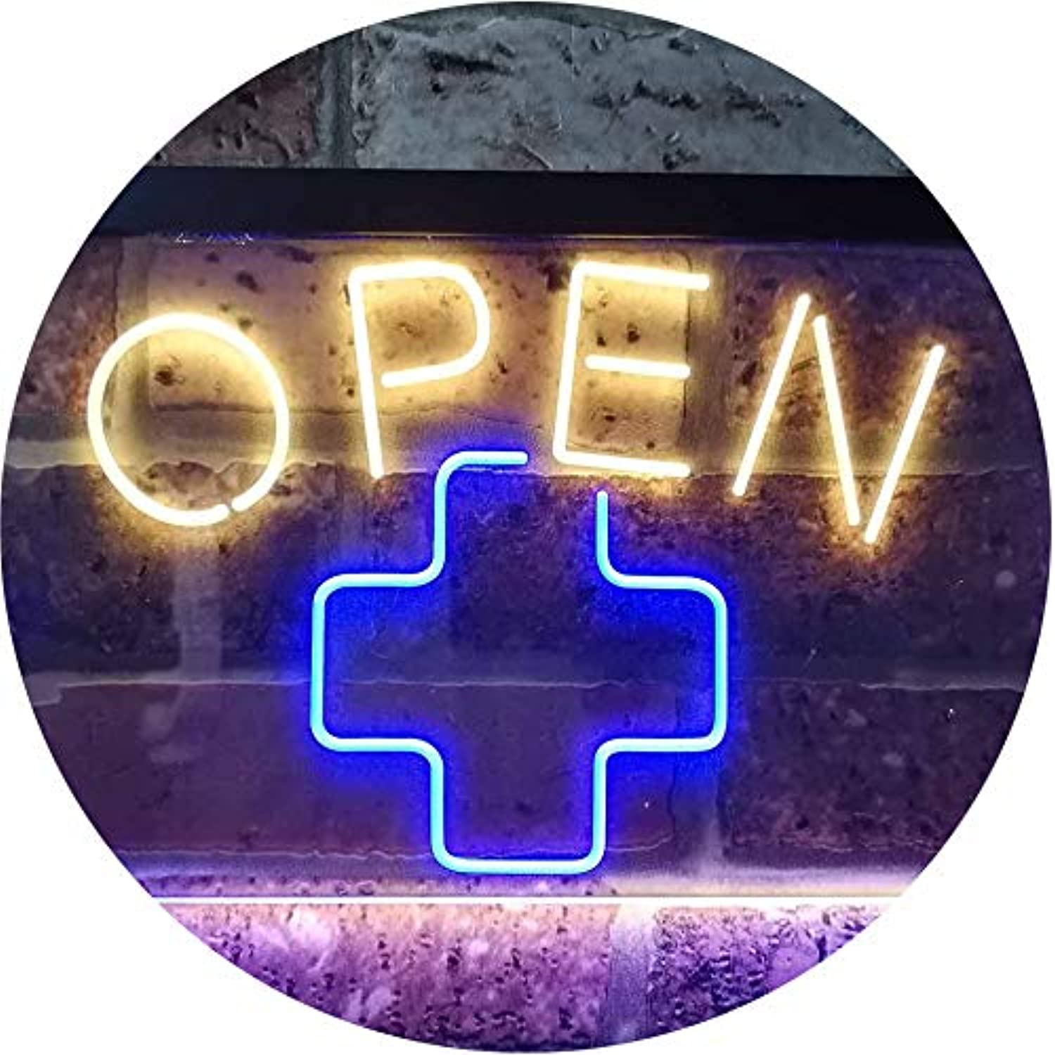 ADVPRO Open Medical Cross Shop Display Décor Dual Farbe LED Barlicht Neonlicht Lichtwerbung Neon Sign Blau & Gelb 400mm x 300mm st6s43-i3209-by