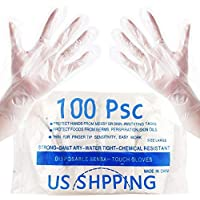 100-Piece Advien Clear Disposable Polyethylene Plastic Gloves