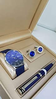 Louis Martin Mens Watch Set with Pen and CUP