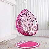 SMGPYHWYP Rattan Hanging Swing Chair Patio Gartenstuhl mit Ständer, Kissen und Bezug In oder Outdoor, 150Kg Kapazität