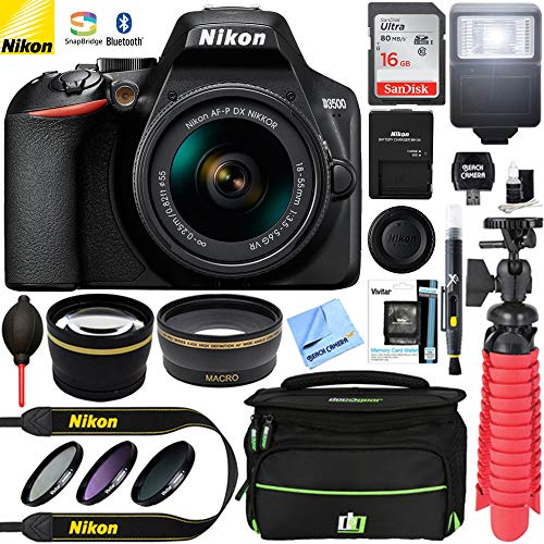 Nikon D3500 24.2MP DSLR Camera (Renewed) + AF-P DX 18-55mm VR NIKKOR Lens Kit + Accessory Bundle 16GB SDXC Memory + SLR Photo Bag + Wide Angle Lens + 2.2X Telephoto Lens + Flash & More