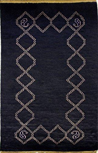 etnico 91x 154Perserteppich Pak Original geknotet Hand Position Gabbeh Farben: Blau Weiß
