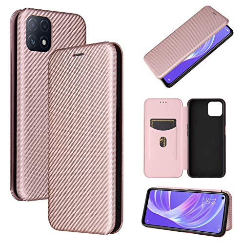ANWEN for Nokia 5.4 Case,with Carbon Fiber Texture Design Magnetic Closure Card with Slots For Flip Folio case for Nokia 5.4-Pink