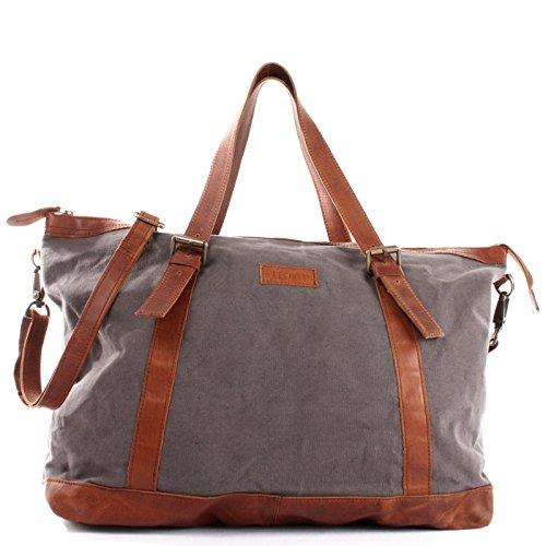 LECONI Weekender Canvas + Rinds-Leder Freizeittasche Reisetasche XL Shopper Damen + Herren Handgepäck Sporttasche Retro-Look 50x36x15cm grau LE2013-C