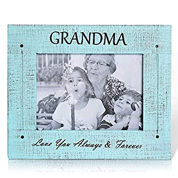 BOLUO Grandma Picture Frames 5x7 Rustic Wood Grandmother Love Photo Frame Distressed Blue  GM57-B